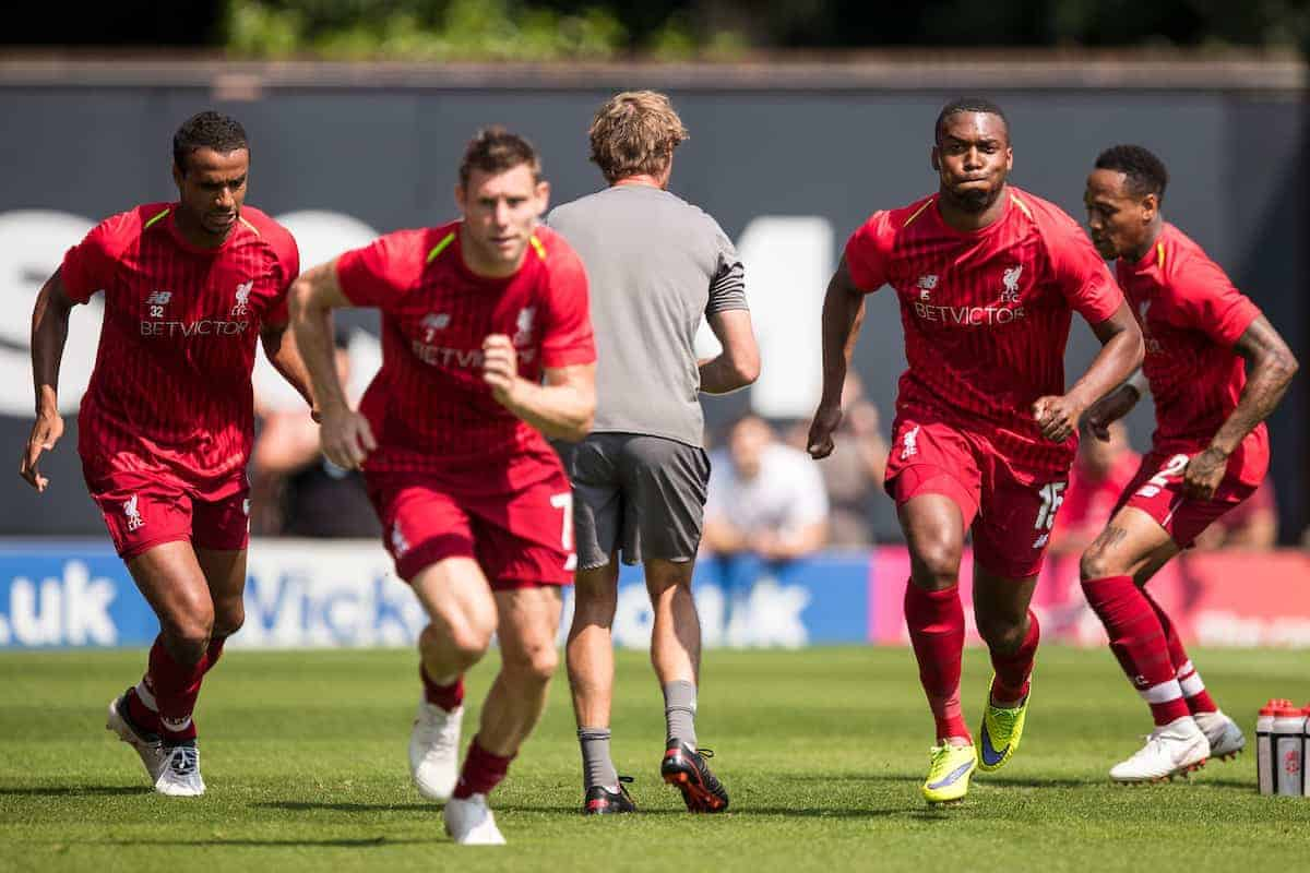BURY, ENGLAND - Saturday, July 14, 2018: Liverpool's Joel Matip, James Milner, Liverpool's Daniel Sturridge and Nathaniel Clyne during the pre-match warm-up before a preseason friendly match between Bury FC and Liverpool FC at Gigg Lane. (Pic by Paul Greenwood/Propaganda)