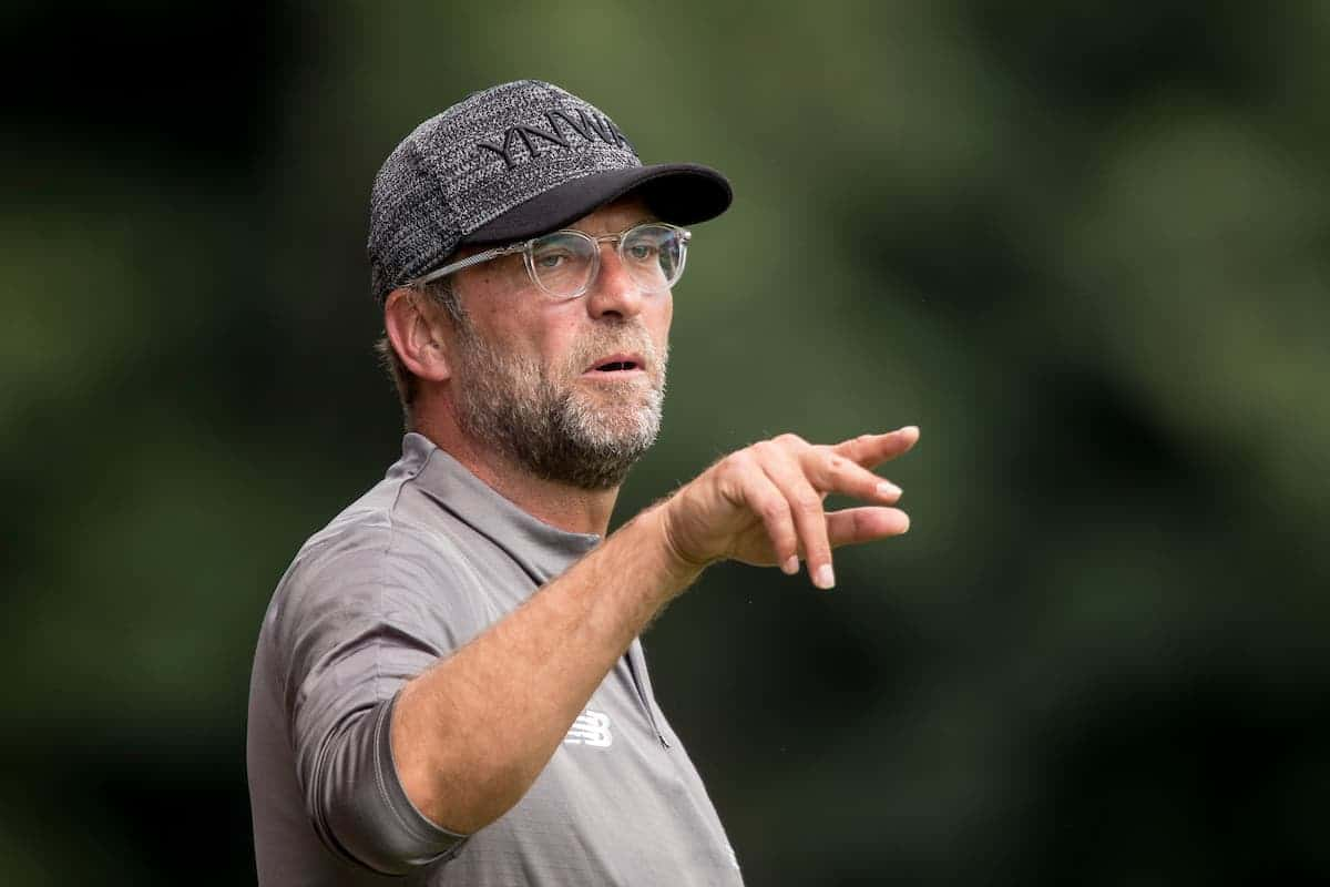 BURY, ENGLAND - Saturday, July 14, 2018: Liverpool's manager Jürgen Klopp during a preseason friendly match between Bury FC and Liverpool FC at Gigg Lane. (Pic by Paul Greenwood/Propaganda)