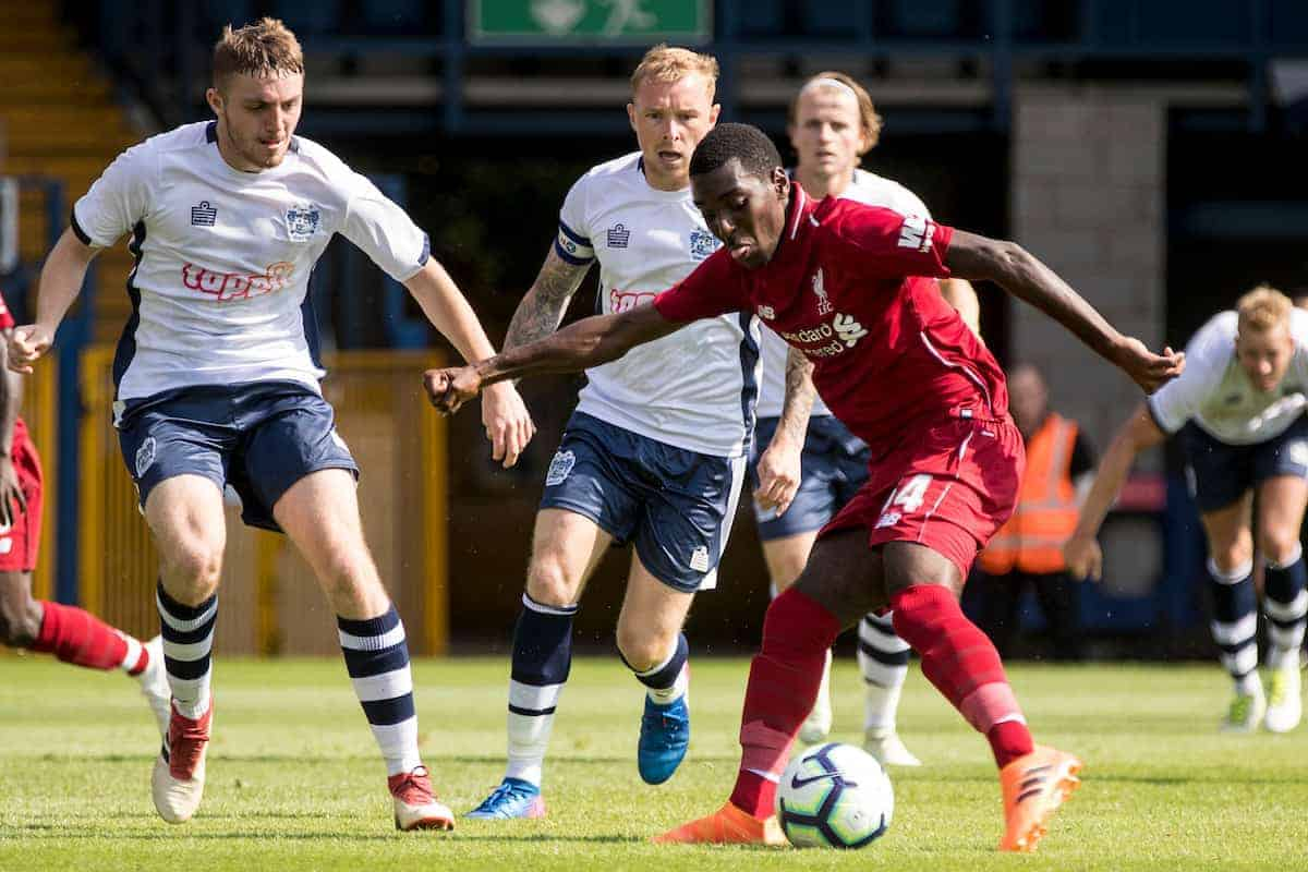 BURY, ENGLAND - Saturday, July 14, 2018: Liverpool's Rafael Camacho shoots at goal during a preseason friendly match between Bury FC and Liverpool FC at Gigg Lane. (Pic by Paul Greenwood/Propaganda)