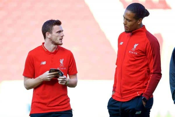 BLACKBURN, ENGLAND - Thursday, July 19, 2018: Liverpool's Andy Robertson (left) and Virgil van Dijk before a preseason friendly match between Blackburn Rovers FC and Liverpool FC at Ewood Park. (Pic by David Rawcliffe/Propaganda)