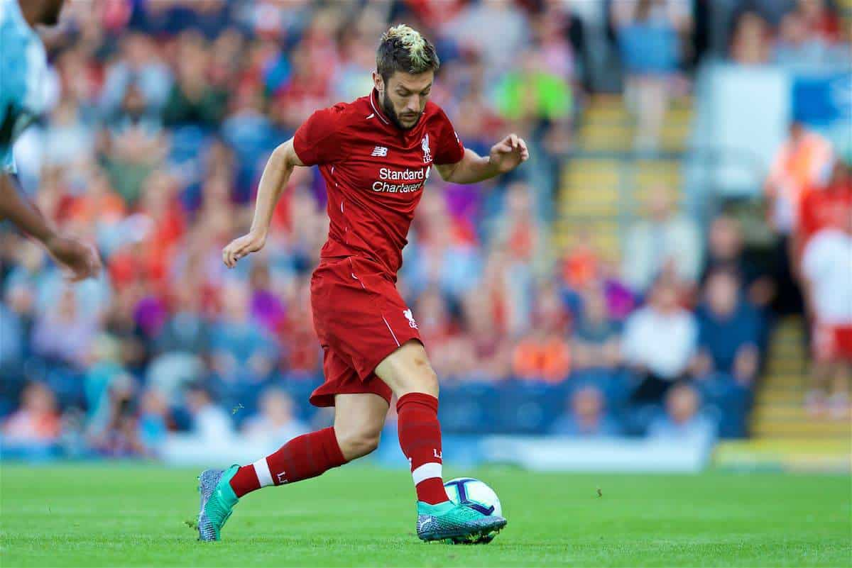 BLACKBURN, ENGLAND - Thursday, July 19, 2018: Liverpool's Adam Lallana during a preseason friendly match between Blackburn Rovers FC and Liverpool FC at Ewood Park. (Pic by David Rawcliffe/Propaganda)