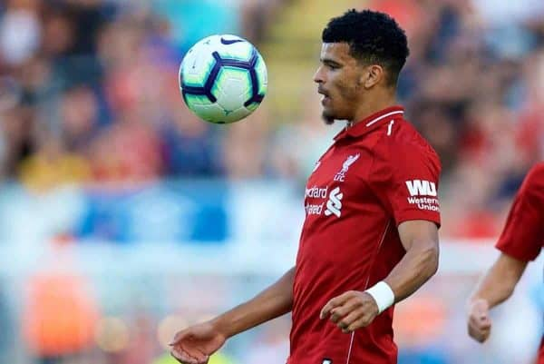BLACKBURN, ENGLAND - Thursday, July 19, 2018: Liverpool's Dominic Solanke during a preseason friendly match between Blackburn Rovers FC and Liverpool FC at Ewood Park. (Pic by David Rawcliffe/Propaganda)