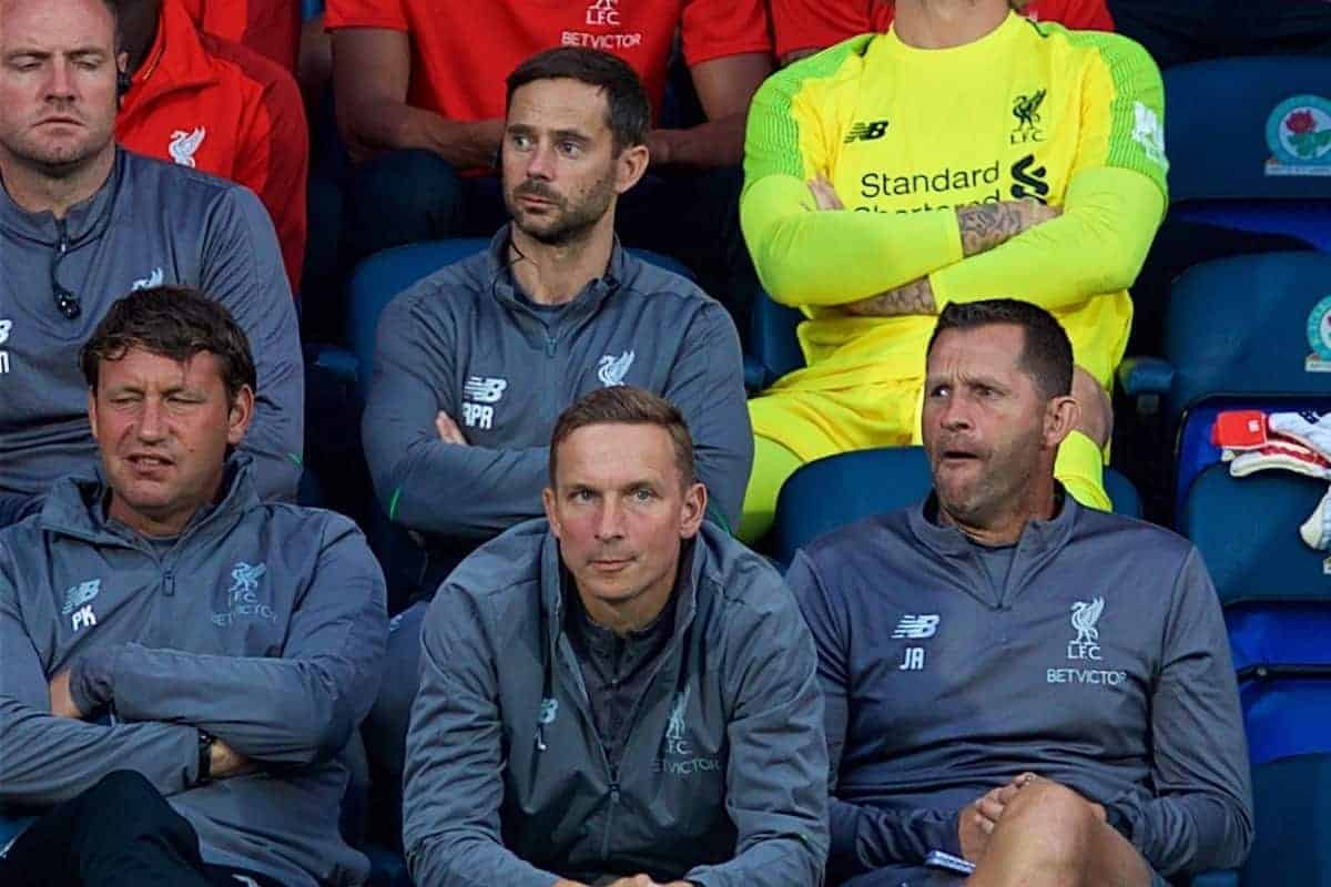 BLACKBURN, ENGLAND - Thursday, July 19, 2018: Liverpool's goalkeeper Loris Karius (in yellow) on the bench after playing the first part of the game during a preseason friendly match between Blackburn Rovers FC and Liverpool FC at Ewood Park. (Pic by David Rawcliffe/Propaganda)