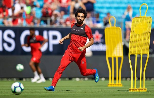 CHARLOTTE, USA - Saturday, July 21, 2018: Liverpool's Mohamed Salah during a training session at the Bank of America Stadium ahead of a preseason International Champions Cup match between Borussia Dortmund and Liverpool FC. (Pic by David Rawcliffe/Propaganda)