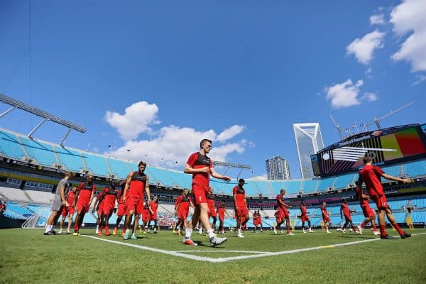 CHARLOTTE, USA - Saturday, July 21, 2018: Liverpool's Andy Robertson and his team-mates during a training session at the Bank of America Stadium ahead of a preseason International Champions Cup match between Borussia Dortmund and Liverpool FC. (Pic by David Rawcliffe/Propaganda)