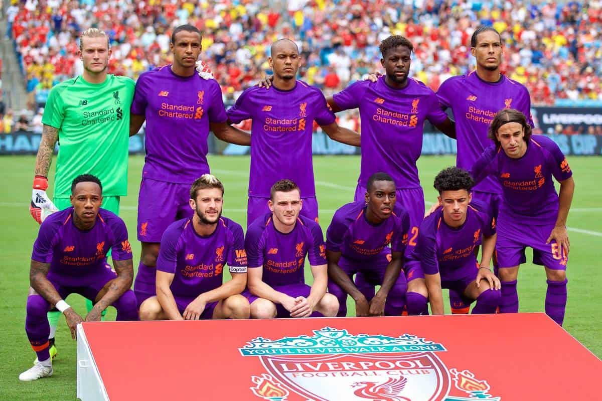 CHARLOTTE, USA - Sunday, July 22, 2018: Liverpool players line-up for a team group photograph before a preseason International Champions Cup match between Borussia Dortmund and Liverpool FC at the Bank of America Stadium. Back row L-R: goalkeeper Loris Karius, Joel Matip, Fabio Henrique Tavares 'Fabinho', Divock Origi, Virgil van Dijk. Front row L-R: Nathaniel Clyne, Adam Lallana, Andy Robertson, Rafael Camacho, Curtis Jones, Lazar Markovic. (Pic by David Rawcliffe/Propaganda)