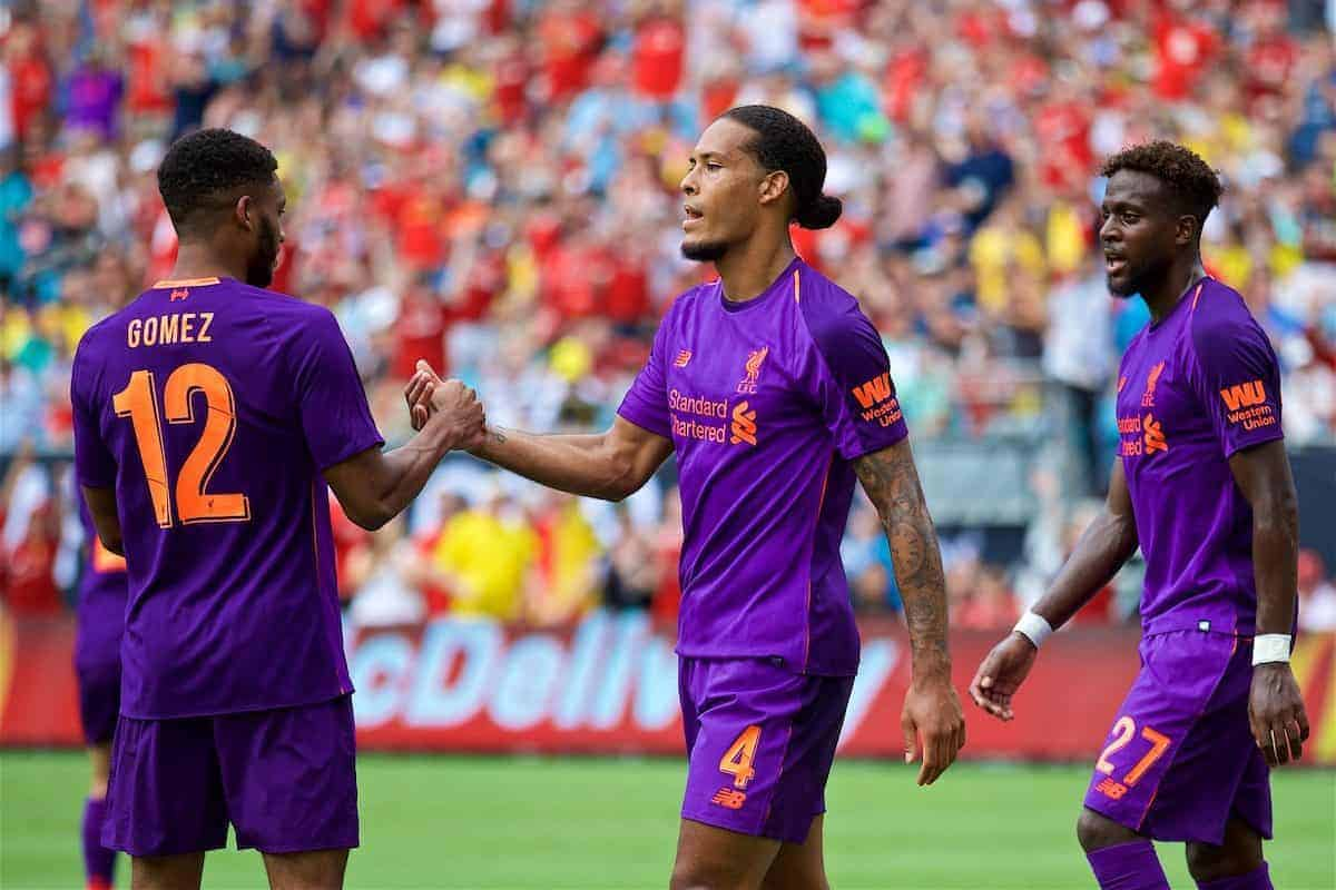 Liverpool's Virgil van Dijk celebrates scoring the first goal during a preseason International Champions Cup match between Borussia Dortmund and Liverpool FC at the Bank of America Stadium. (Pic by David Rawcliffe/Propaganda)