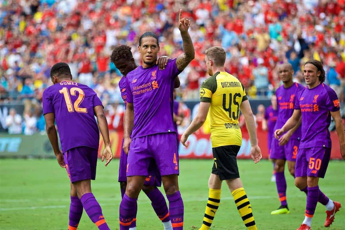 CHARLOTTE, USA - Sunday, July 22, 2018: Liverpool's Virgil van Dijk celebrates scoring the first goal during a preseason International Champions Cup match between Borussia Dortmund and Liverpool FC at the Bank of America Stadium. (Pic by David Rawcliffe/Propaganda)