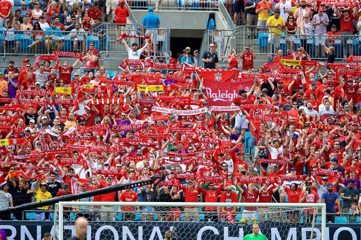 CHARLOTTE, USA - Sunday, July 22, 2018: Liverpool supporters during a preseason International Champions Cup match between Borussia Dortmund and Liverpool FC at the Bank of America Stadium. (Pic by David Rawcliffe/Propaganda)