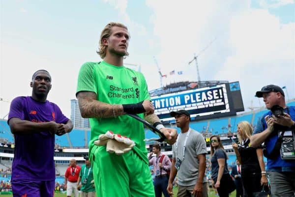 CHARLOTTE, USA - Sunday, July 22, 2018: Liverpool's goalkeeper Loris Karius after a preseason International Champions Cup match between Borussia Dortmund and Liverpool FC at the Bank of America Stadium. (Pic by David Rawcliffe/Propaganda)