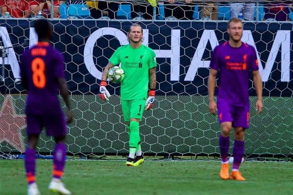 Liverpool's goalkeeper Loris Karius looks dejected as Borussia Dortmund score a late second goal during a preseason International Champions Cup match between Borussia Dortmund and Liverpool FC at the Bank of Am