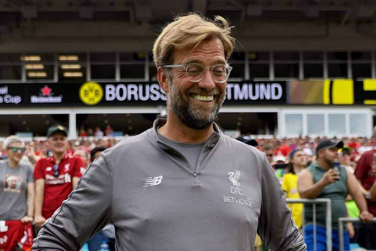 CHARLOTTE, USA - Sunday, July 22, 2018: Liverpool's manager J¸rgen Klopp before a preseason International Champions Cup match between Borussia Dortmund and Liverpool FC at the Bank of America Stadium. (Pic by David Rawcliffe/Propaganda)