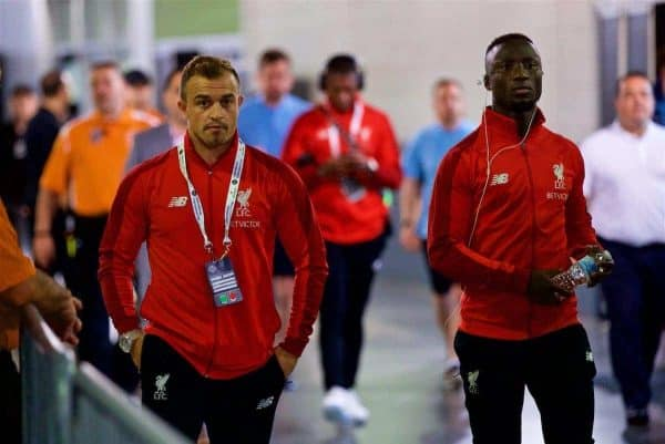 NEW JERSEY, USA - Wednesday, July 25, 2018: Liverpool's new signing new signings Xherdan Shaqiri (left) and Naby Keita (right) arrive before a preseason International Champions Cup match between Manchester City FC and Liverpool FC at the Met Life Stadium. (Pic by David Rawcliffe/Propaganda)