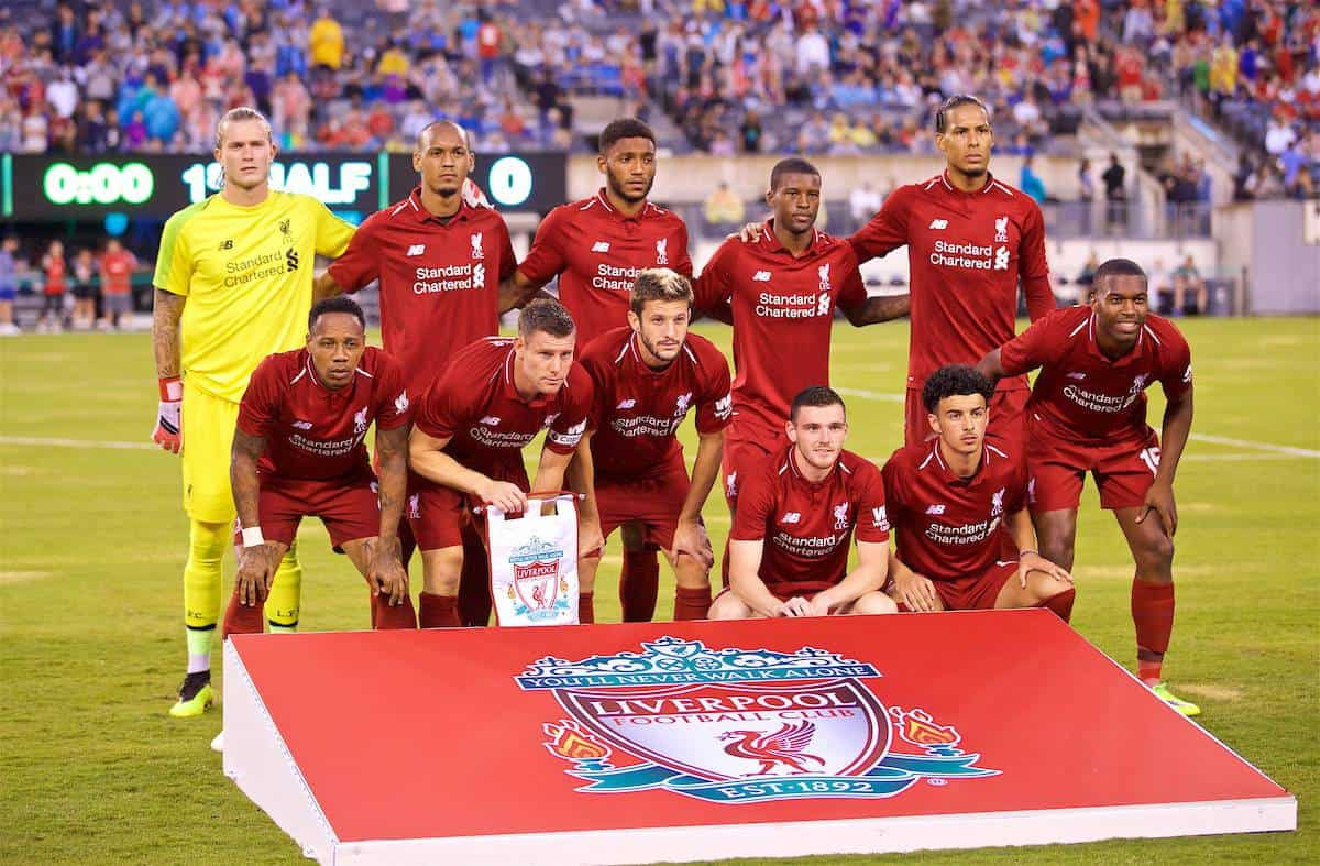 NEW JERSEY, USA - Wednesday, July 25, 2018: Liverpool's players line-up for a team group photograph before a preseason International Champions Cup match between Manchester City FC and Liverpool FC at the Met Life Stadium. (Pic by David Rawcliffe/Propaganda)