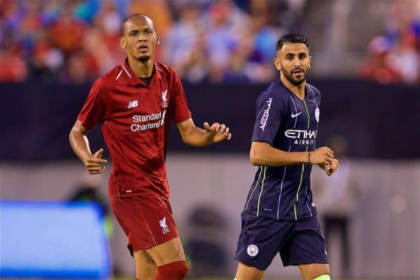 NEW JERSEY, USA - Wednesday, July 25, 2018: Liverpool's Fabio Henrique Tavares 'Fabinho' and Manchester City's Riyad Mahrez during a preseason International Champions Cup match between Manchester City FC and Liverpool FC at the Met Life Stadium. (Pic by David Rawcliffe/Propaganda)