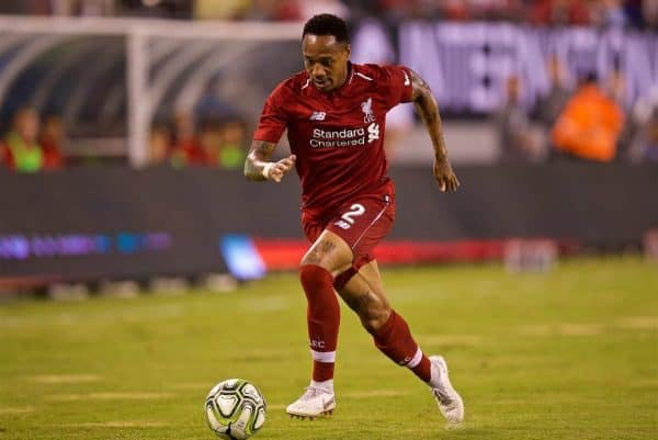NEW JERSEY, USA - Wednesday, July 25, 2018: Liverpool's Nathaniel Clyne during a preseason International Champions Cup match between Manchester City FC and Liverpool FC at the Met Life Stadium. (Pic by David Rawcliffe/Propaganda)