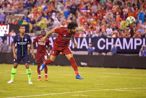 NEW JERSEY, USA - Wednesday, July 25, 2018: Liverpool's Mohamed Salah scores the first equalising goal with a header, to level the score 1-1, during a preseason International Champions Cup match between Manchester City FC and Liverpool FC at the Met Life Stadium. (Pic by David Rawcliffe/Propaganda)