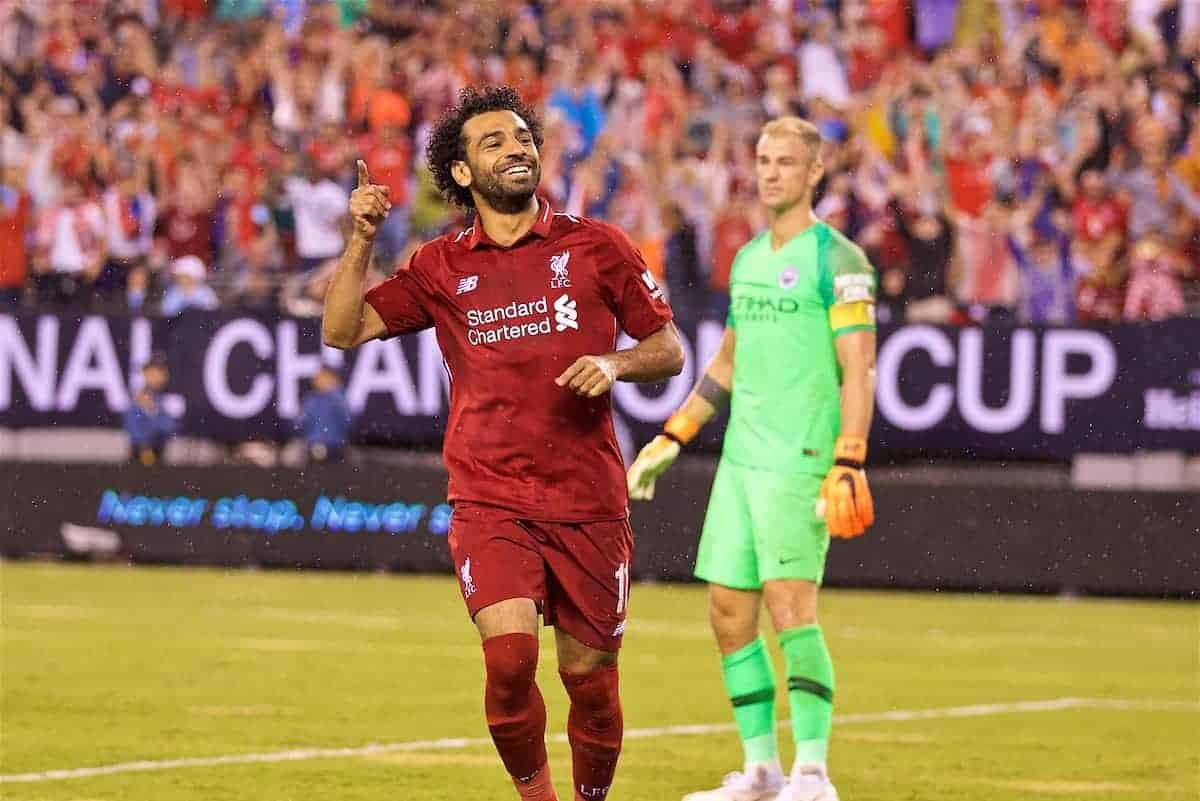 Liverpool's Mohamed Salah celebrate scoring the first equalising goal to level the score 1-1 during a preseason International Champions Cup match between Manchester City FC and Liverpool FC at the Met Lif