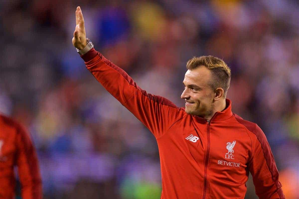 NEW JERSEY, USA - Wednesday, July 25, 2018: Liverpool's new signing Xherdan Shaqiri after a preseason International Champions Cup match between Manchester City FC and Liverpool FC at the Met Life Stadium. (Pic by David Rawcliffe/Propaganda)