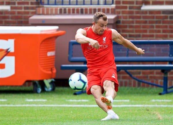 Liverpool's new signing Xherdan Shaqiri during a training session ahead of the preseason International Champions Cup match between Manchester United FC and Liverpool FC at the Michigan Stadium. (Pic by David Rawcliffe/Propaganda)