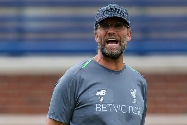 ANN ARBOR, USA - Friday, July 27, 2018: Liverpool's manager J¸rgen Klopp during a training session ahead of the preseason International Champions Cup match between Manchester United FC and Liverpool FC at the Michigan Stadium. (Pic by David Rawcliffe/Propaganda)