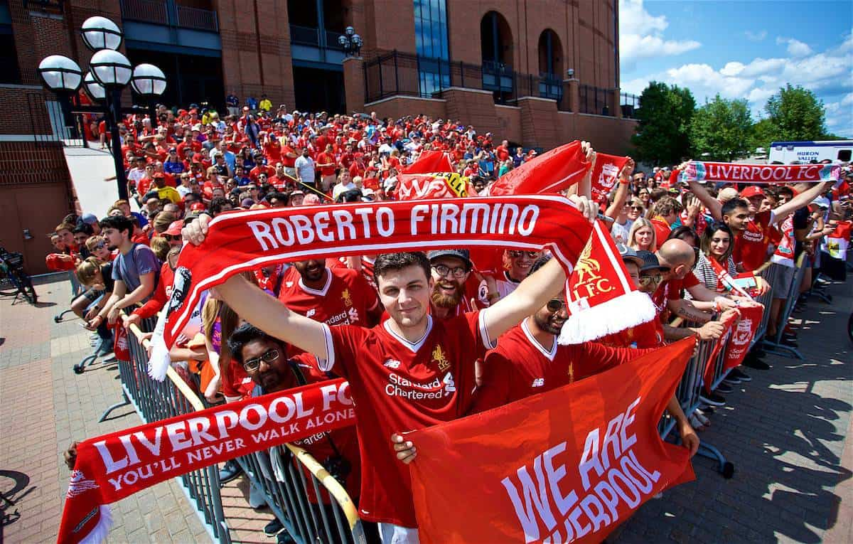 ANN ARBOR, USA - Saturday, July 28, 2018: Liverpool supporters wait for the team to arrive before the preseason International Champions Cup match between Manchester United and Liverpool FC at the Michigan Stadium. (Pic by David Rawcliffe/Propaganda)