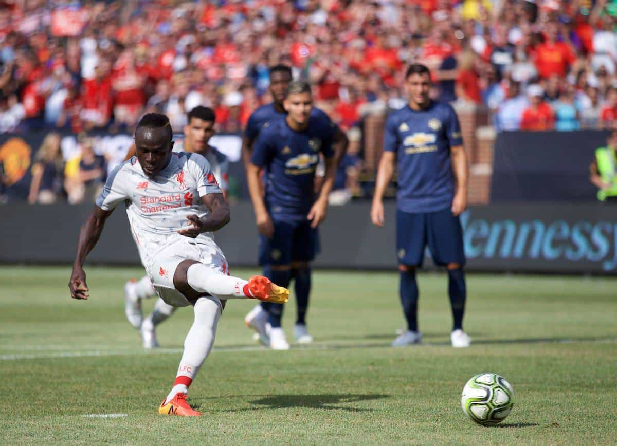 ANN ARBOR, USA - Saturday, July 28, 2018: Liverpool's Sadio Mane scores the first goal from a penalty kick during the preseason International Champions Cup match between Manchester United and Liverpool FC at the Michigan Stadium. (Pic by David Rawcliffe/Propaganda)
