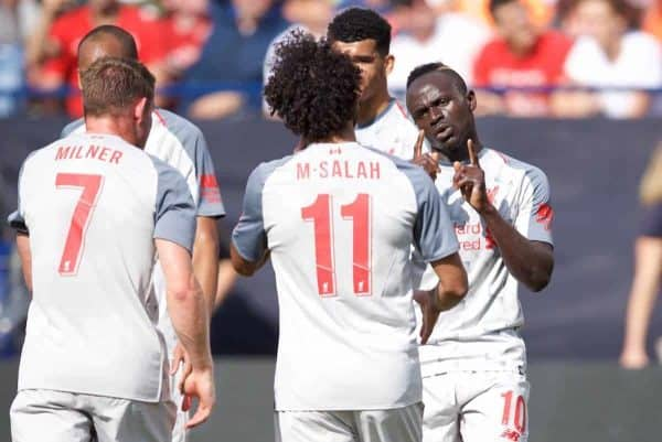 ANN ARBOR, USA - Saturday, July 28, 2018: Liverpool's Sadio Mane (right) celebrates scoring the first goal with team-mates during the preseason International Champions Cup match between Manchester United and Liverpool FC at the Michigan Stadium. (Pic by David Rawcliffe/Propaganda)