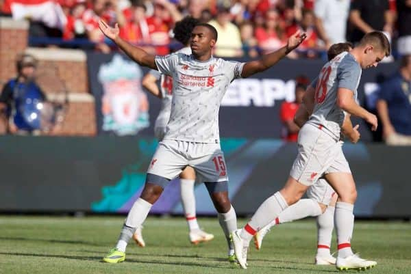 Liverpool's Daniel Sturridge scores the second goal during the preseason International Champions Cup match between Manchester United and Liverpool FC at the Michigan Stadium. (Pic by David Rawcliffe/Propaganda)