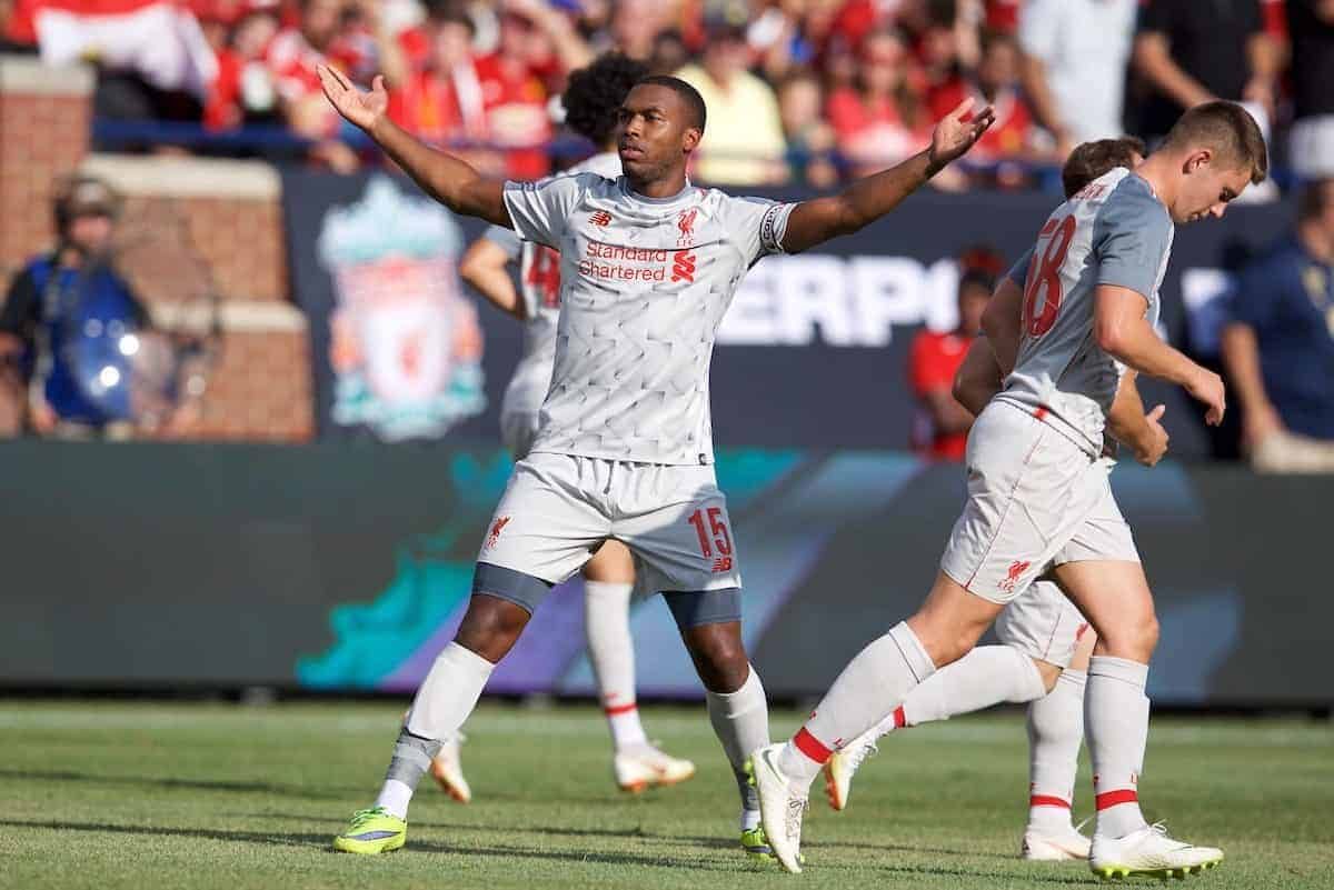 ANN ARBOR, USA - Saturday, July 28, 2018: Liverpool's Daniel Sturridge scores the second goal during the preseason International Champions Cup match between Manchester United and Liverpool FC at the Michigan Stadium. (Pic by David Rawcliffe/Propaganda)