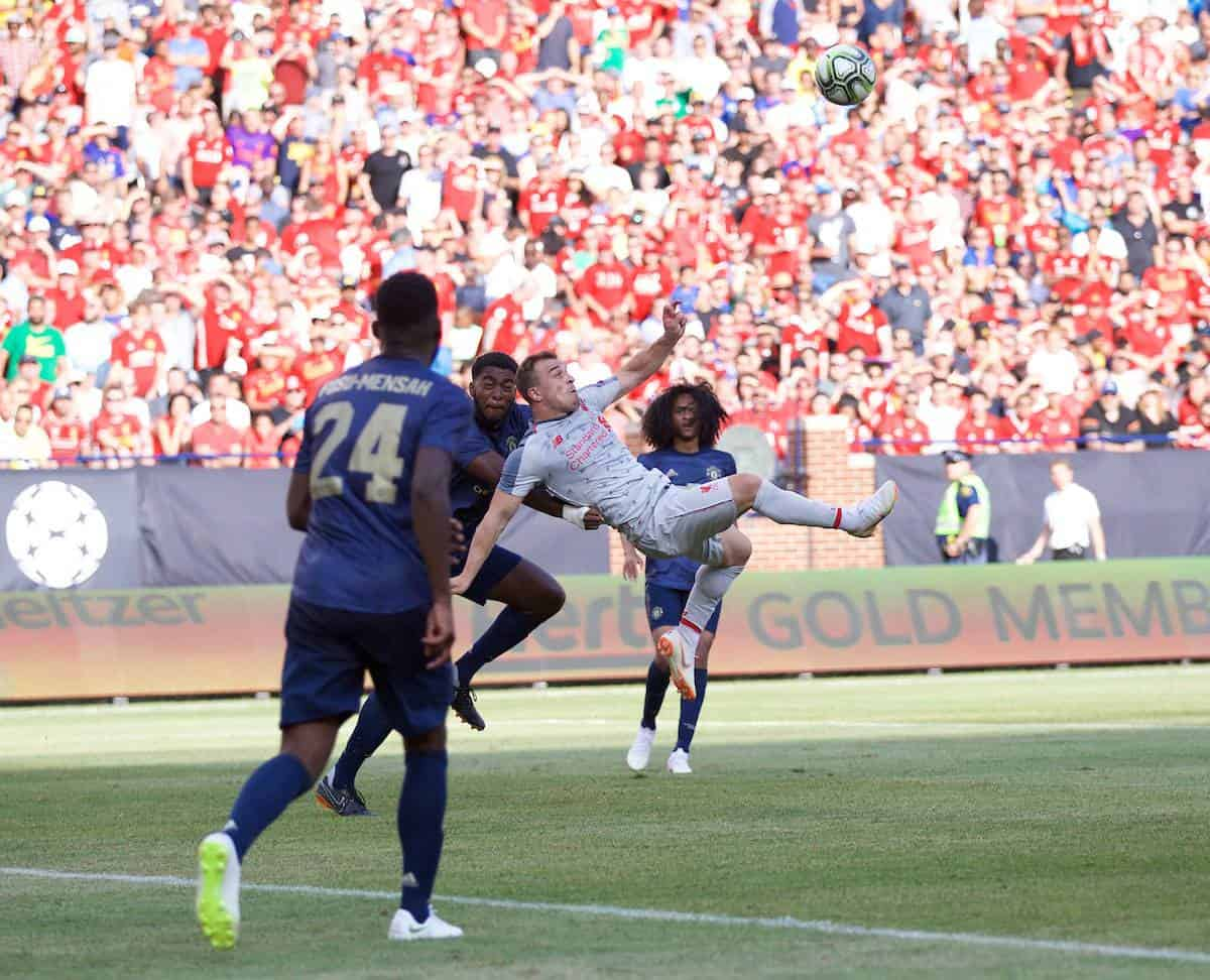 ANN ARBOR, USA - Saturday, July 28, 2018: Liverpool's new signing Xherdan Shaqiri scores the fourth goal with a bicycle kick during the preseason International Champions Cup match between Manchester United and Liverpool FC at the Michigan Stadium. (Pic by David Rawcliffe/Propaganda)