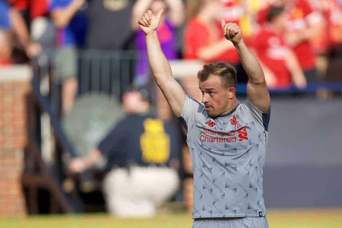 ANN ARBOR, USA - Saturday, July 28, 2018: Liverpool's new signing Xherdan Shaqiri scores the fourth goal during the preseason International Champions Cup match between Manchester United and Liverpool FC at the Michigan Stadium. (Pic by David Rawcliffe/Propaganda)