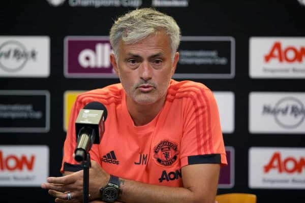 ANN ARBOR, USA - Saturday, July 28, 2018: Manchester United's manager Jose Mourinho during the a post-match press conference following a preseason International Champions Cup match between Manchester United and Liverpool FC at the Michigan Stadium. Liverpool won 4-1. (Pic by David Rawcliffe/Propaganda)