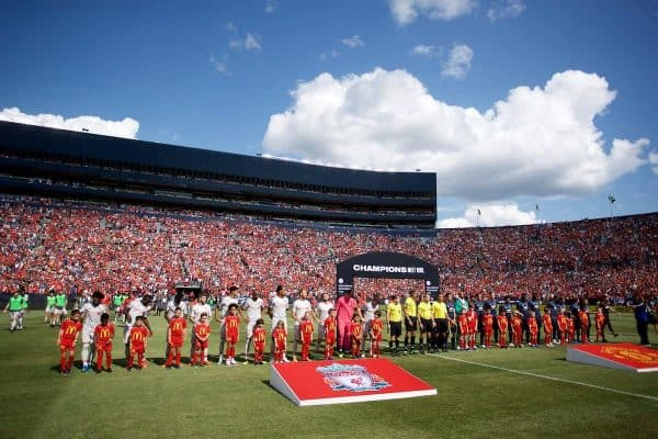 ANN ARBOR, USA - Saturday, July 28, 2018: Liverpool and Manchester United players line-up before the preseason International Champions Cup match between Manchester United and Liverpool FC at the Michigan Stadium. (Pic by David Rawcliffe/Propaganda)