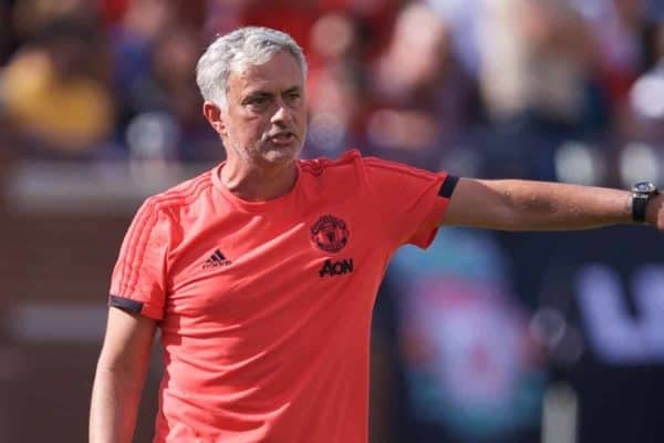 ANN ARBOR, USA - Saturday, July 28, 2018: Manchester United's manager Jose Mourinho complains to referee Ismail Elfath, who he described as a baseball referee in his post-match press conference, during the preseason International Champions Cup match between Manchester United and Liverpool FC at the Michigan Stadium. Liverpool won 4-1. (Pic by David Rawcliffe/Propaganda)