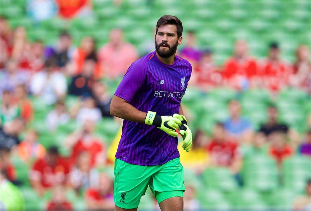 DUBLIN, REPUBLIC OF IRELAND - Saturday, August 4, 2018: Liverpool's new signing goalkeeper Alisson Becker during the pre-match warm-up before the preseason friendly match between SSC Napoli and Liverpool FC at Landsdowne Road. (Pic by David Rawcliffe/Propaganda)