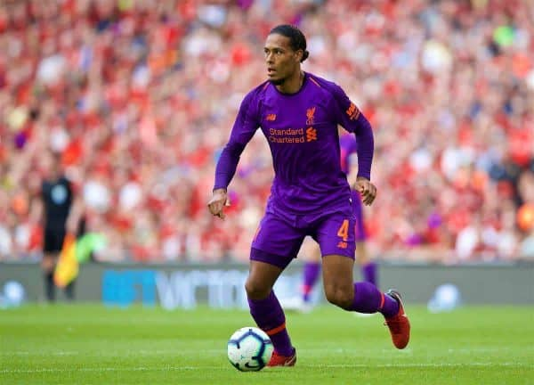 Liverpool's Virgil van Dijk during the preseason friendly match between SSC Napoli and Liverpool FC at Landsdowne Road. (Pic by David Rawcliffe/Propaganda)