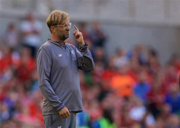 DUBLIN, REPUBLIC OF IRELAND - Saturday, August 4, 2018: Liverpool's manager Jürgen Klopp reacts during the preseason friendly match between SSC Napoli and Liverpool FC at Landsdowne Road. (Pic by David Rawcliffe/Propaganda)