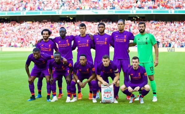 DUBLIN, REPUBLIC OF IRELAND - Saturday, August 4, 2018: Liverpool's players line-up for a team group photograph before the preseason friendly match between SSC Napoli and Liverpool FC at Landsdowne Road. Back row L-R: Mohamed Salah, Sadio Mane, Roberto Firmino, Joe Gomez, Virgil van Dijk, new signing goalkeeper Alisson Becker. Front row L-R: Georginio Wijnaldum, Naby Keita, Nathaniel Clyne, James Milner, Andy Robertson. (Pic by David Rawcliffe/Propaganda)