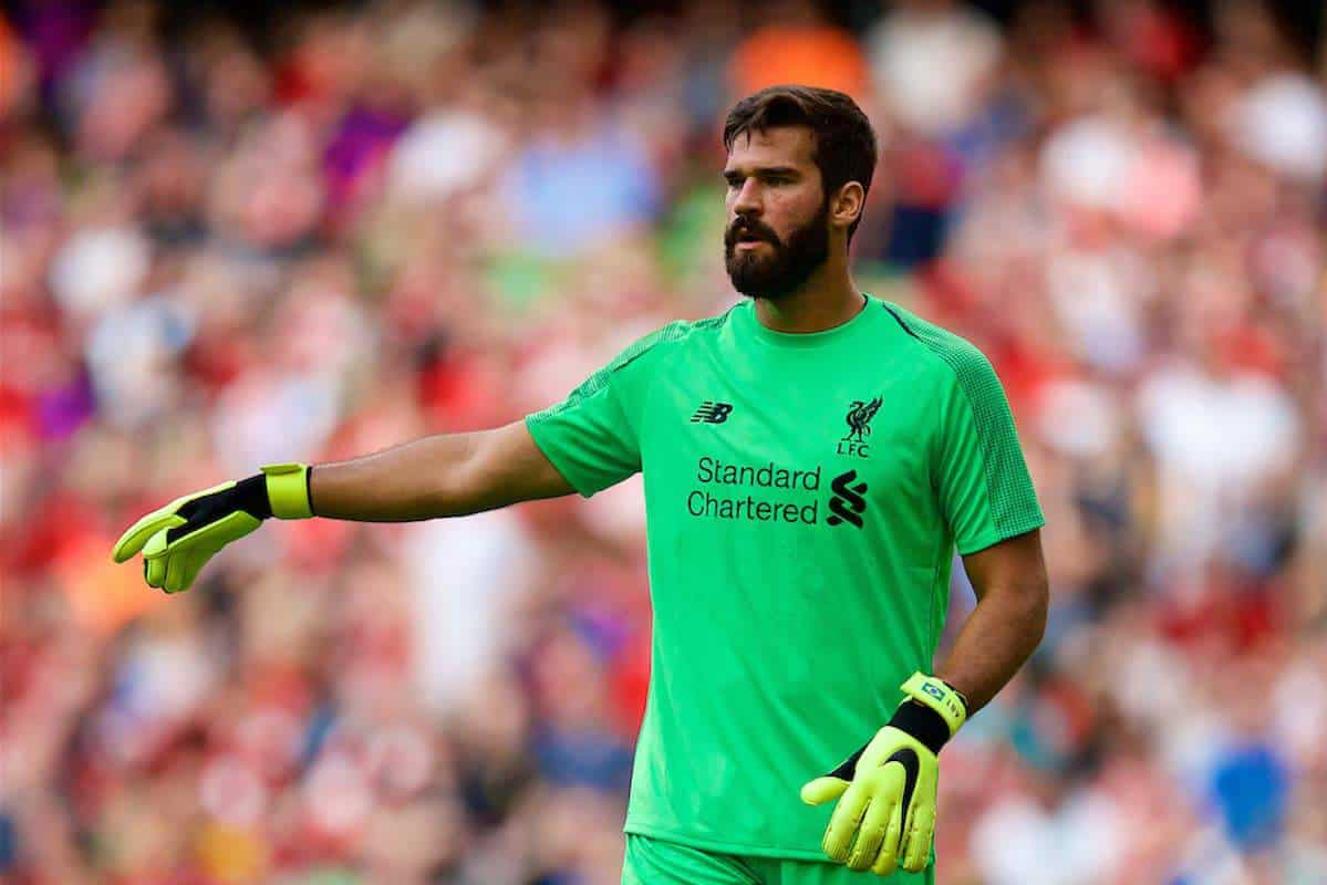 DUBLIN, REPUBLIC OF IRELAND - Saturday, August 4, 2018: Liverpool's new signing goalkeeper Alisson Becker during the preseason friendly match between SSC Napoli and Liverpool FC at Landsdowne Road. (Pic by David Rawcliffe/Propaganda)