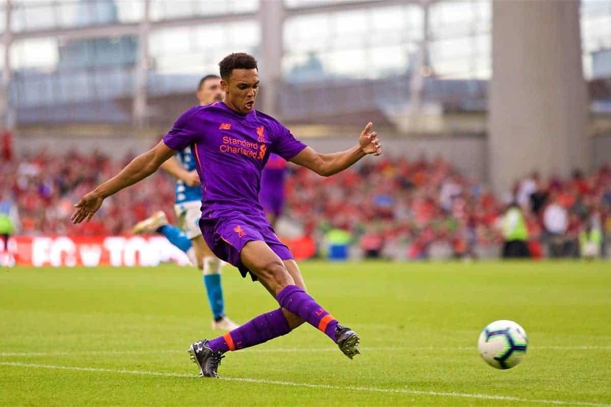 DUBLIN, REPUBLIC OF IRELAND - Saturday, August 4, 2018: Liverpool's Trent Alexander-Arnold during the preseason friendly match between SSC Napoli and Liverpool FC at Landsdowne Road. (Pic by David Rawcliffe/Propaganda)