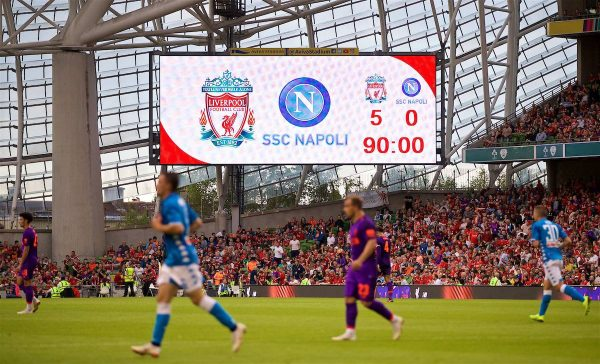 DUBLIN, REPUBLIC OF IRELAND - Saturday, August 4, 2018: The scoreboard records Liverpool's 5-0 victory during the preseason friendly match between SSC Napoli and Liverpool FC at Landsdowne Road. (Pic by David Rawcliffe/Propaganda)