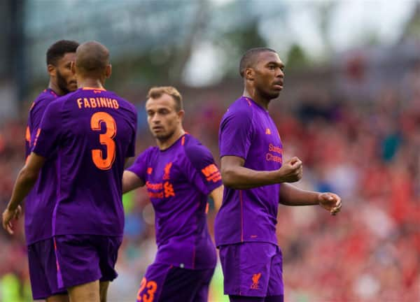 Liverpool's Daniel Sturridge celebrates scoring the fourth goal during the preseason friendly match between SSC Napoli and Liverpool FC at Landsdowne Road. (Pic by David Rawcliffe/Propaganda)