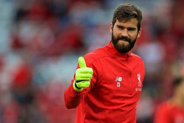 LIVERPOOL, ENGLAND - Tuesday, August 7, 2018: Liverpool's new signing goalkeeper Alisson Becker during the pre-match warm-up before the preseason friendly match between Liverpool FC and Torino FC at Anfield. (Pic by David Rawcliffe/Propaganda)