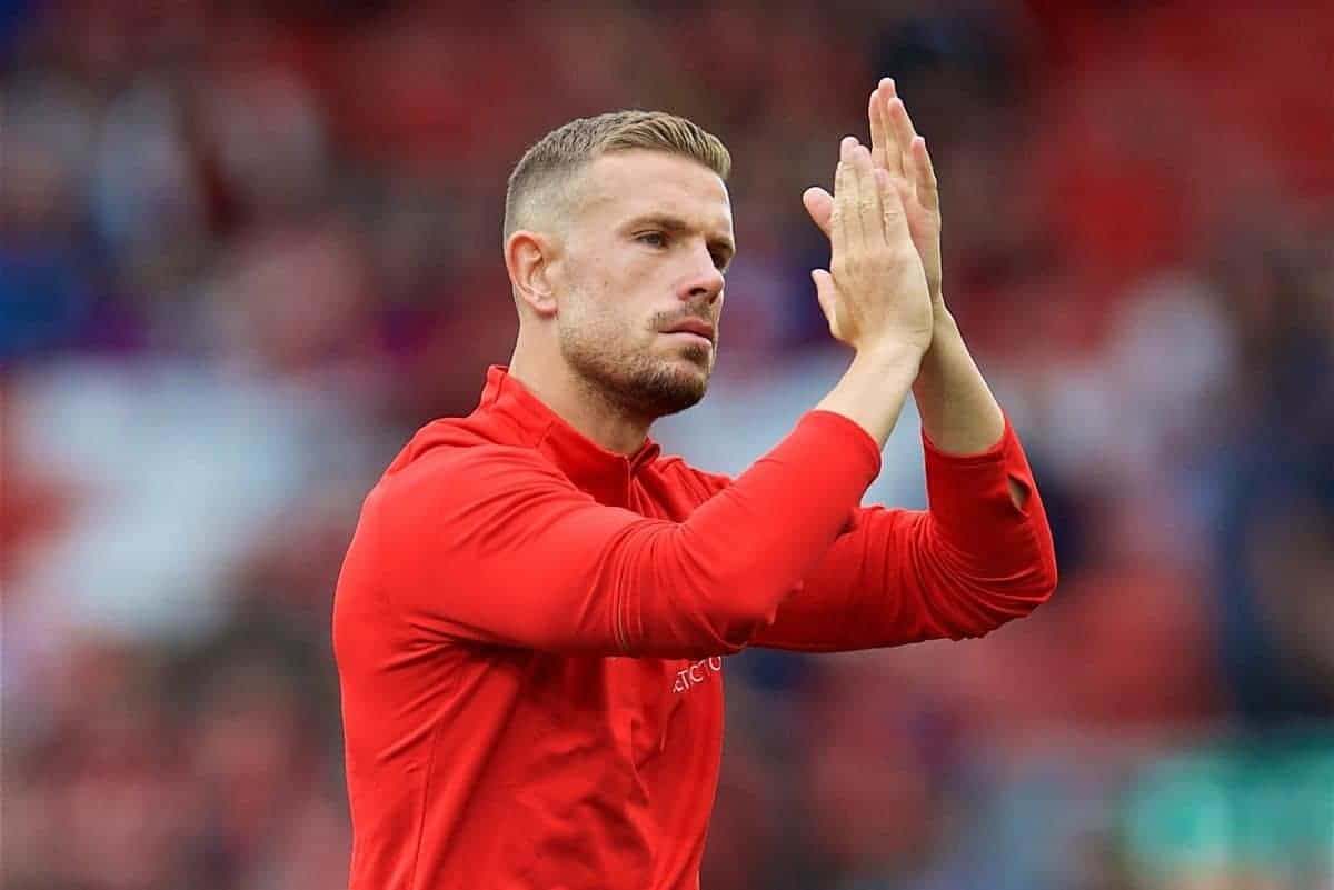 LIVERPOOL, ENGLAND - Tuesday, August 7, 2018: Liverpool's captain Jordan Henderson during the pre-match warm-up before the preseason friendly match between Liverpool FC and Torino FC at Anfield. (Pic by David Rawcliffe/Propaganda)