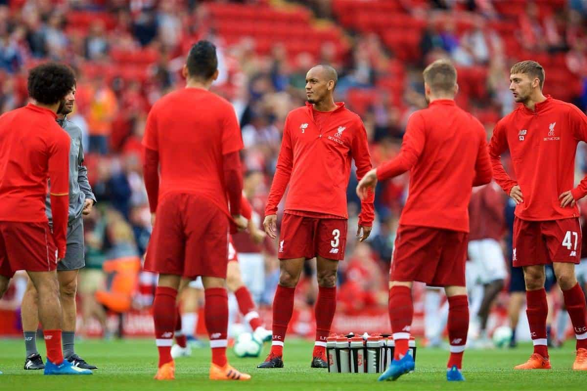 LIVERPOOL, ENGLAND - Tuesday, August 7, 2018: Liverpool's Fabio Henrique Tavares 'Fabinho' during the pre-match warm-up before the preseason friendly match between Liverpool FC and Torino FC at Anfield. (Pic by David Rawcliffe/Propaganda)