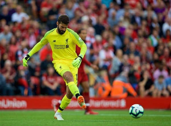 LIVERPOOL, ENGLAND - Tuesday, August 7, 2018: Liverpool's new signing goalkeeper Alisson Becker during the preseason friendly match between Liverpool FC and Torino FC at Anfield. (Pic by David Rawcliffe/Propaganda)