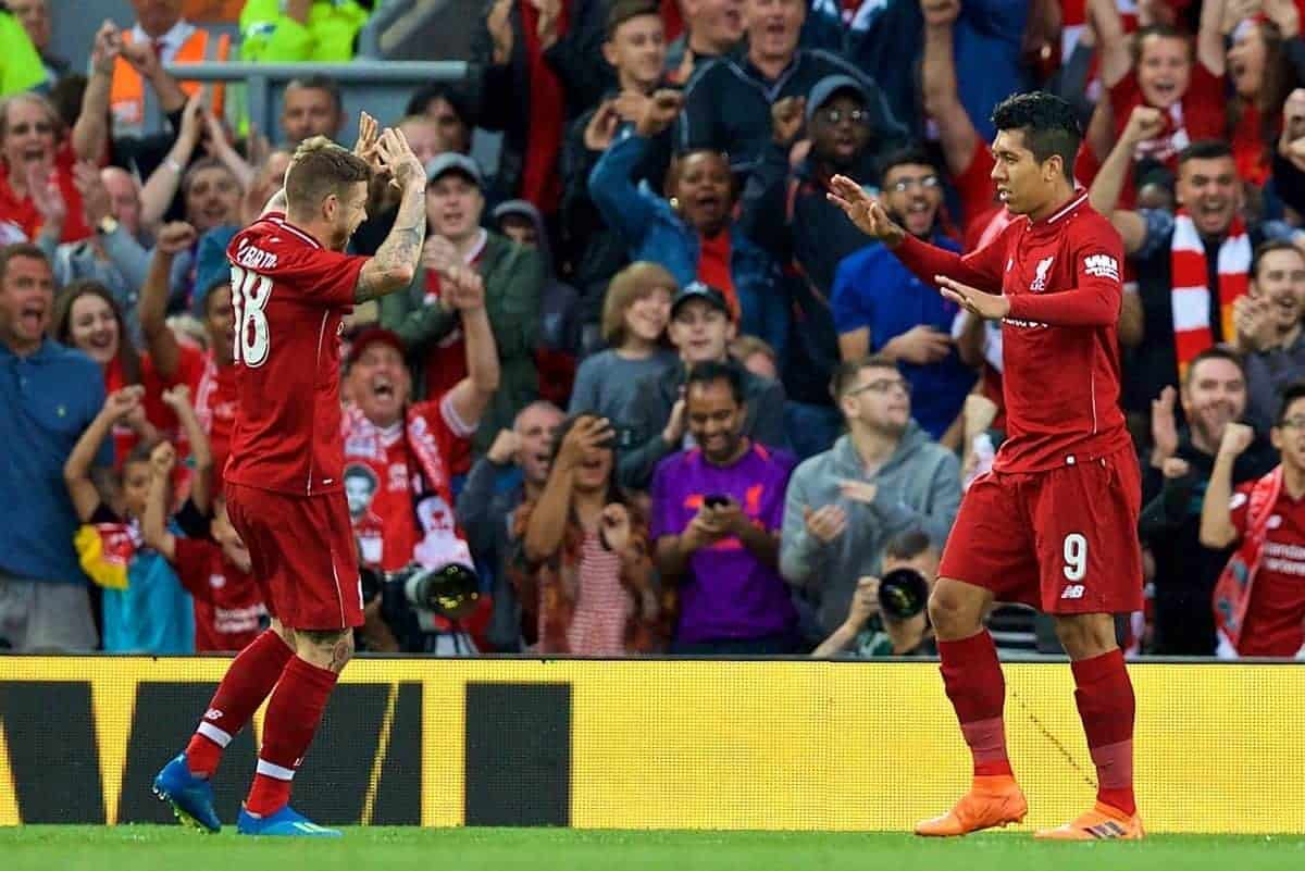 LIVERPOOL, ENGLAND - Tuesday, August 7, 2018: Liverpool's Roberto Firmino celebrates scoring the first goal during the preseason friendly match between Liverpool FC and Torino FC at Anfield. (Pic by David Rawcliffe/Propaganda)