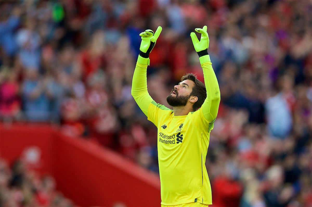 LIVERPOOL, ENGLAND - Tuesday, August 7, 2018: Liverpool's new signing goalkeeper Alisson Becker celebrates the second goal during the preseason friendly match between Liverpool FC and Torino FC at Anfield. (Pic by David Rawcliffe/Propaganda)
