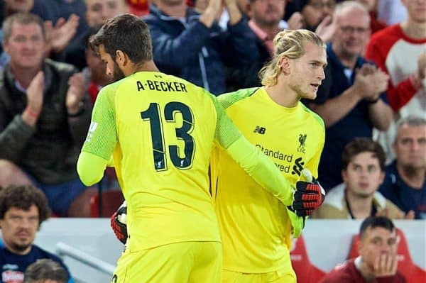 Liverpool's new signing goalkeeper Alisson Becker is replaced by substitute goalkeeper Loris Karius during the preseason friendly match between Liverpool FC and Torino FC at Anfield. (Pic by David Rawcliffe/Propaganda)